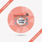 Coffee shop signs flat icon with long shadow,eps10 — ストックベクタ