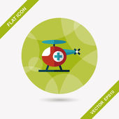 Medical helicopter flat icon with long shadow,eps10 — Vettoriale Stock