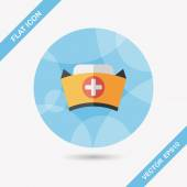 Nurse hat flat icon with long shadow,eps10 — Wektor stockowy