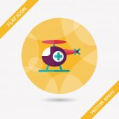 Medical helicopter flat icon with long shadow,eps10 — Vector de stock