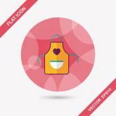 Icona piana di utensili da cucina grembiule con ombra lunga, eps10 — Vettoriale Stock