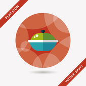 Kitchenware pot flat icon with long shadow,eps10 — Vector de stock