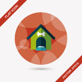 Pet dog house flat icon with long shadow,eps10 — Vector de stock