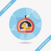 Pet bed flat icon with long shadow,eps10 — Vector de stock