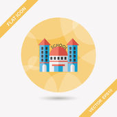School building flat icon with long shadow,eps10 — Stock Vector