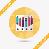 Crayons flat icon with long shadow,eps10 — Vetor de Stock