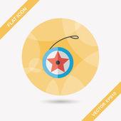 Yo yo flat icon with long shadow,eps 10 — Stock Vector