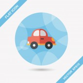 Transportation car flat icon with long shadow,eps10 — Stock Vector