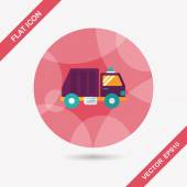 Transportation Garbage truck flat icon with long shadow,eps10 — Vettoriale Stock