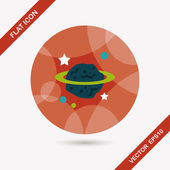 Space planet flat icon with long shadow,eps10 — Stock Vector