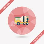 Transportation Cement mixer flat icon with long shadow,eps10 — Stock Vector