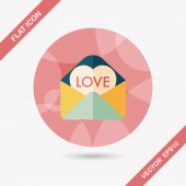 Valentine's day love letter flat icon with long shadow,eps10 — Stockvektor