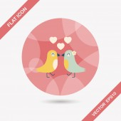 Valentine's Day lover bird flat icon with long shadow,eps10 — Stock vektor
