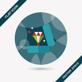 Valentine's Day diamond ring flat icon with long shadow,eps10 — Stockvector