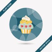Día de San Valentín icono plana de cupcake con larga sombra, eps10 — Vector de stock