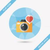 Valentine's Day photo camera flat icon with long shadow,eps10 — Stockvektor