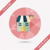 Valentine's Day love house flat icon with long shadow,eps10 — Stock Vector