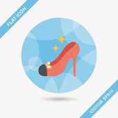 Wedding high-heeled shoes flat icon with long shadow,eps10 — Stock Vector