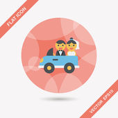 Wedding car flat icon with long shadow, eps10 — Stock Vector