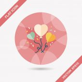 Wedding ballons flat icon with long shadow,eps10 — Wektor stockowy