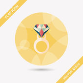 Propose diamond ring flat icon with long shadow,eps10 — Stock Vector