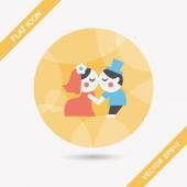 Wedding couple flat icon with long shadow,eps10 — Stock Vector