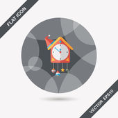 Cuckoo clock flat icon with long shadow,eps10 — Stock Vector