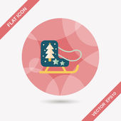 Christmas sleigh flat icon with long shadow,eps10 — Stock Vector