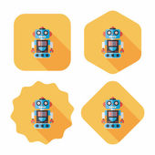 Robot concept flat icon with long shadow,eps10 — ストックベクタ