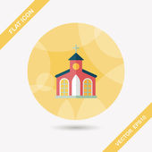 Building church flat icon with long shadow,eps10 — Stock Vector