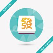 Chinese mahjong flat icon with long shadow,eps10 — Stock Vector