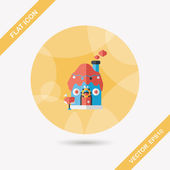 Gingerbread house flat icon with long shadow,eps10 — Stock Vector