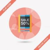 Shopping sale sign flag flat icon with long shadow,eps10 — Stock Vector
