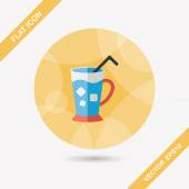 Iced drink flat icon with long shadow,eps10 — Vecteur