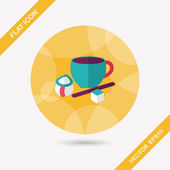 Coffee flat icon with long shadow,eps10 — Stock Vector