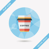 Takeaway coffee flat icon with long shadow,eps10 — Stock Vector