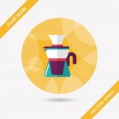 символ квартиры чайника кофе с длинной тенью, eps10 — Cтоковый вектор