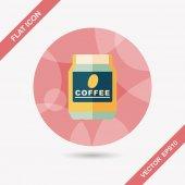 Стеклянный консервированный символ квартиры кофе с длинной тенью, eps10 — Cтоковый вектор