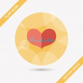 ECG heart flat icon with long shadow — Stock Vector