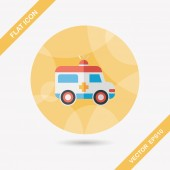 Ambulance flat icon with long shadow — Stock Vector