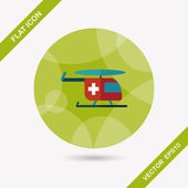 Medical helicopter flat icon with long shadow — Stock Vector