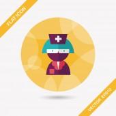 Medicine nurses flat icon with long shadow — Stock Vector
