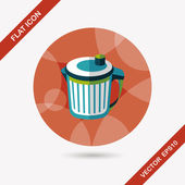 Kitchenware garbage can flat icon with long shadow,eps10 — Vector de stock