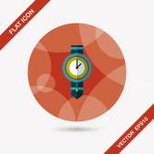 Watch flat icon with long shadow,eps10 — Stock Vector