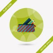 Icona di piatto casella matita con lunga ombra, eps10 — Vettoriale Stock