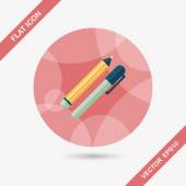 Pencil and pen flat icon with long shadow,eps10 — Stock Vector