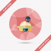 Space UFO flat icon with long shadow, eps10 — Stock Vector