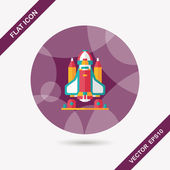 Space rocket flat icon with long shadow,eps10 — Wektor stockowy