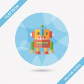 Vintage robot flat icon with long shadow,eps 10 — Stock Vector
