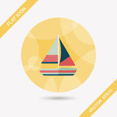 Transportation sailboat flat icon with long shadow,eps10 — Stock Vector